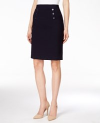 Nine West Button Detail Pencil Skirt Navy