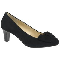 Gabor Orianna Bow Mid Heel Court Shoes Black Suede