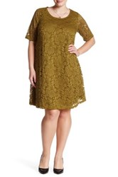 Sharagano Lace A Line Dress Plus Size Green