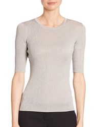 Michael Kors Metallic Elbow Sleeve Sweater Silver