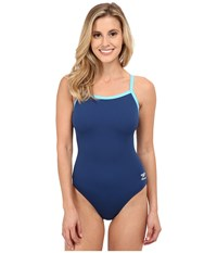 Speedo Endurance Flyback Training Suit Navy Blue Women's Swimwear Multi