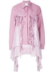 Marco De Vincenzo Buttoned Ruffle Embellished Jacket Pink And Purple