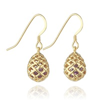 Kinnari Gold Small Egg Earrings With Amethyst Gold Pink Purple