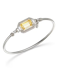 Judith Ripka Sterling Silver Avery Baguette Bangle With Canary Crystal Rock Crystal Yellow Silver