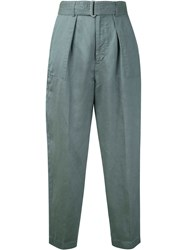 Cityshop Belted Peg Trousers Women Linen Flax Polyester Tencel 38 Green