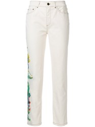 Mr And Mrs Italy Embroidered Denim Jeans Cotton Spandex Elastane Nude Neutrals