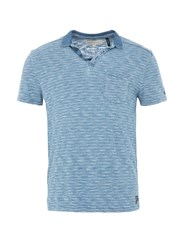 Garcia Cotton Stripe Polo Shirt Indigo