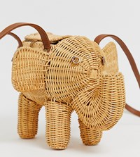 South Beach Exclusive Rattan Elephant Straw Cross Body Bag Brown
