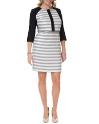 Kay Unger New York Women's 3 4 Sleeve Striped Cropped Jacket Women's Black White