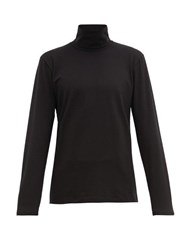 Jil Sander Roll Neck Cotton Blend Top Black