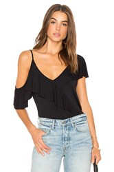 Krisa Asymmetrical Ruffle Top Black