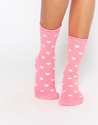 Plush Heart Print Ankle Sock Pink Heart