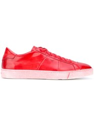 Santoni Low Top Sneakers Men Calf Leather Leather Foam Rubber 8.5 Red