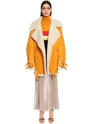 Vionnet Oversized Suede And Shearling Coat