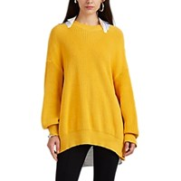 Undercover Poplin Panel Detailed Cotton Oversized Sweater Yellow