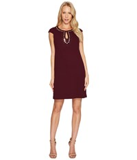 Jessica Simpson Short Sleeve Dress W Keyhole Neck Winetasting Women's Dress Burgundy