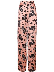 Rochas Floral Print High Waisted Trousers Pink And Purple