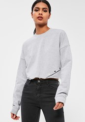 Missguided Grey Popper Detail Cropped Sweatshirt