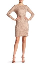 Marina Long Sleeve Lace Sequin Dress Brown