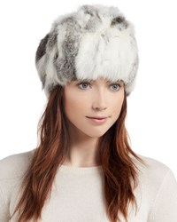 Adrienne Landau Knit Rabbit Fur Hat Goma Gray
