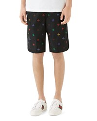Gucci Signature Bee Embroidered Long Swim Trunks Black