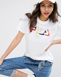 Fila Relaxed Tshirt With Multi Colour Logo In Mesh White