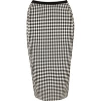 River Island Womens Black And White Gingham Pencil Skirt