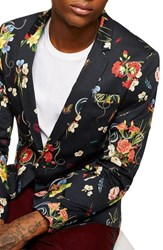 Topman Skinny Fit Floral Print Sport Coat Black Multi