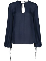Rebecca Vallance Lilly Long Sleeve Blouse Blue