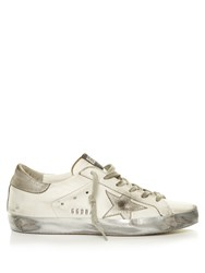 Golden Goose Super Star Sparkle Low Top Leather Trainers White Silver