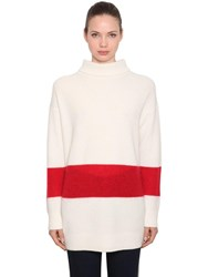 Calvin Klein Oversized Wool Blend Rib Knit Sweater Off White Red