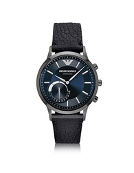 Emporio Armani Connected Gunmetal Pvd Stainless Steel Hibrid Men's Smartwatch W Leather Strap Graphite
