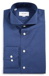 Eton Men's Big And Tall Slim Fit Open Circle Dress Shirt Blue