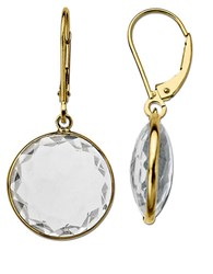 Lord And Taylor White Topaz Earrings In 14K Yellow Gold White Topaz Gold