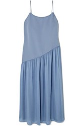 Theory Pleated Crepe And Georgette Midi Dress Blue