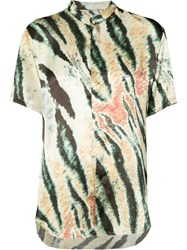 Baja East Tiger Print Short Sleeve Shirt Women Silk 0 Blue