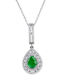 Macy's Emerald 9 10 Ct. T.W. And Diamond 5 8 Ct. T.W. Pendant Necklace In 14K White Gold