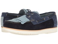 Grenson Stevie Moccasin Powder Prussian Navy Blue Suede