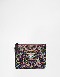 Glamorous Embroidered Envelope Detail Clutch Bag Black Multi