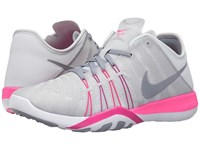 Nike Free Tr 6 Pure Platinum Pink Blast Fire Pink Stealth Women's Cross Training Shoes Gray