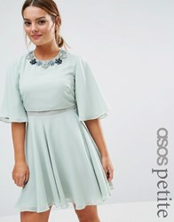 Asos Petite Embellished Floral Trim Flutter Sleeve Mini Mint Multi