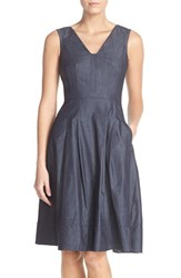 Women's Adrianna Papell Sleeveless Chambray Fit And Flare Dress