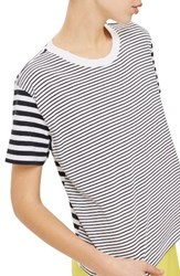 Topshop Petite Women's Mixed Breton Stripe Tee Navy Blue Multi