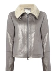 Oui Metallic Aviator Jacket Gunmetal