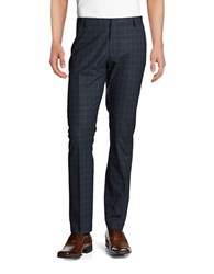 Selected Plaid Wool Dress Pants Dark Navy