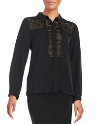 Vince Camuto Lace Accented Button Front Blouse Rich Black