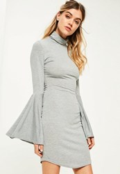Missguided Grey Flared Sleeve High Neck Bodycon Dress
