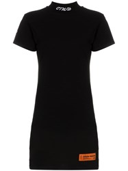 Heron Preston High Neck Cotton Mini Dress Black
