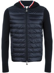 Moncler Knitted Sleeve Hoodie Blue