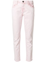 Current Elliott Cropped Straight Leg Jeans Women Cotton Spandex Elastane 30 Pink Purple